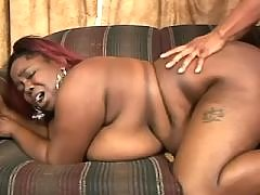 Sex addicted fatty gets off in bed black chubby porn